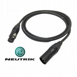 Przewód KABEL mikrofonowy XLR-XLR czarne wtyki  NEUTRIK KLOTZ